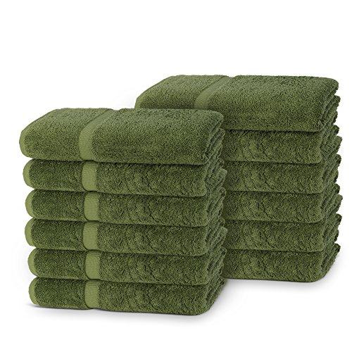 Indulge Linen Extra Soft Washcloths, Set of 12, 100% Turkish Cotton, Safari (Safari Washcloth)