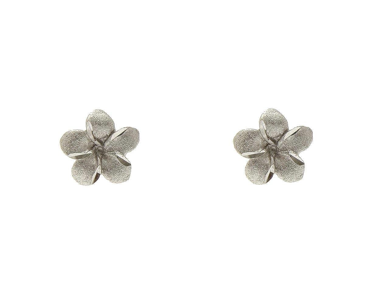 14K solid white gold Hawaiian 7mm plumeria tropical flower post stud earrings