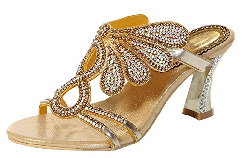 Honeystore M Rhinestone Gold B Handmade Sandals Sheepskin Patterned Women's 9 Butterfly US v1rSv4