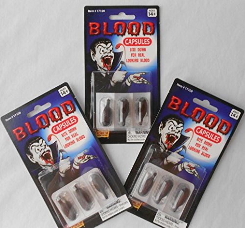 Halloween Novelty Toy Vampire Blood Capsules - 3 Packs of 3 Total 9 Capsules - For Ages 14+ ()