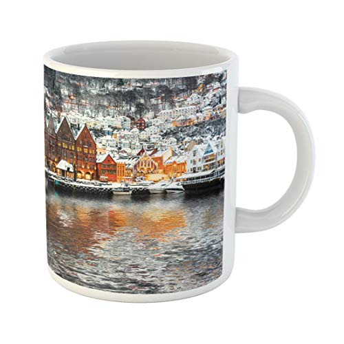 Semtomn Funny Coffee Mug Bryggen Street Wooden Houses Reflection in Bergen at Christmas 11 Oz Ceramic Coffee Mugs Tea Cup Best Gift Or Souvenir
