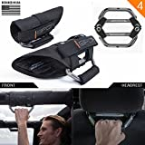 GPCA GP-Grip PRO Grab Handle for Jeep Wrangler JK JKU Sports/ Sahara/ Freedom/ Rubicon X Unlimited X 2DR/4DR 2007-2017 w/ 3'' padded roll bars (Universal to front/ backseat) (2 + 2 pack Space Grey)