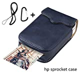 Portable Case for HP Sprocket Portable Photo Printer, PU Leather,Shockproof,a Keychain and a Rope for Carrying Your HP Sprocket Portable Photo Printer and Paper Bag,Navy