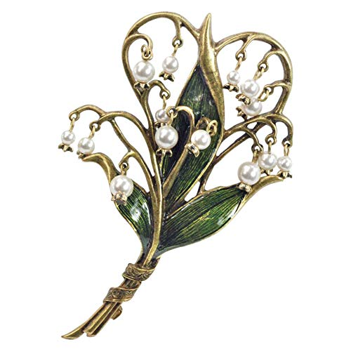 Sweet Romance Women's Lily of The Valley Brooch Pin with Cultured Seed Pearls - 4
