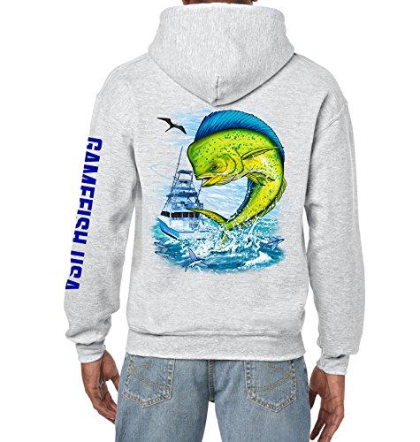 Gamefish USA Pullover Fleece Hooded Fishing Sweatshirt Mahi Fishing Hoodie (ASH GRAY, MEDIUM)