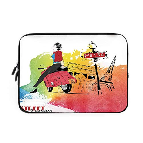 (Fashion House Decor Laptop Sleeve Bag,Neoprene Sleeve Case/Woman on Pink Motorcycle Trend Vogue in Paris Eiffel Tower Art Print/for Apple MacBook Air Samsung Google Acer HP DELL Lenovo AsusRe)