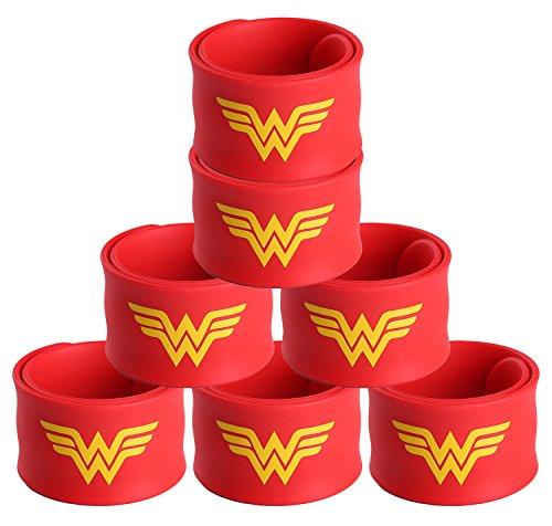 Justice League Superhero Slap Bracelet for Kids Boys & Girls Birthday Party Supplies Favors (7 Pack Wonder -