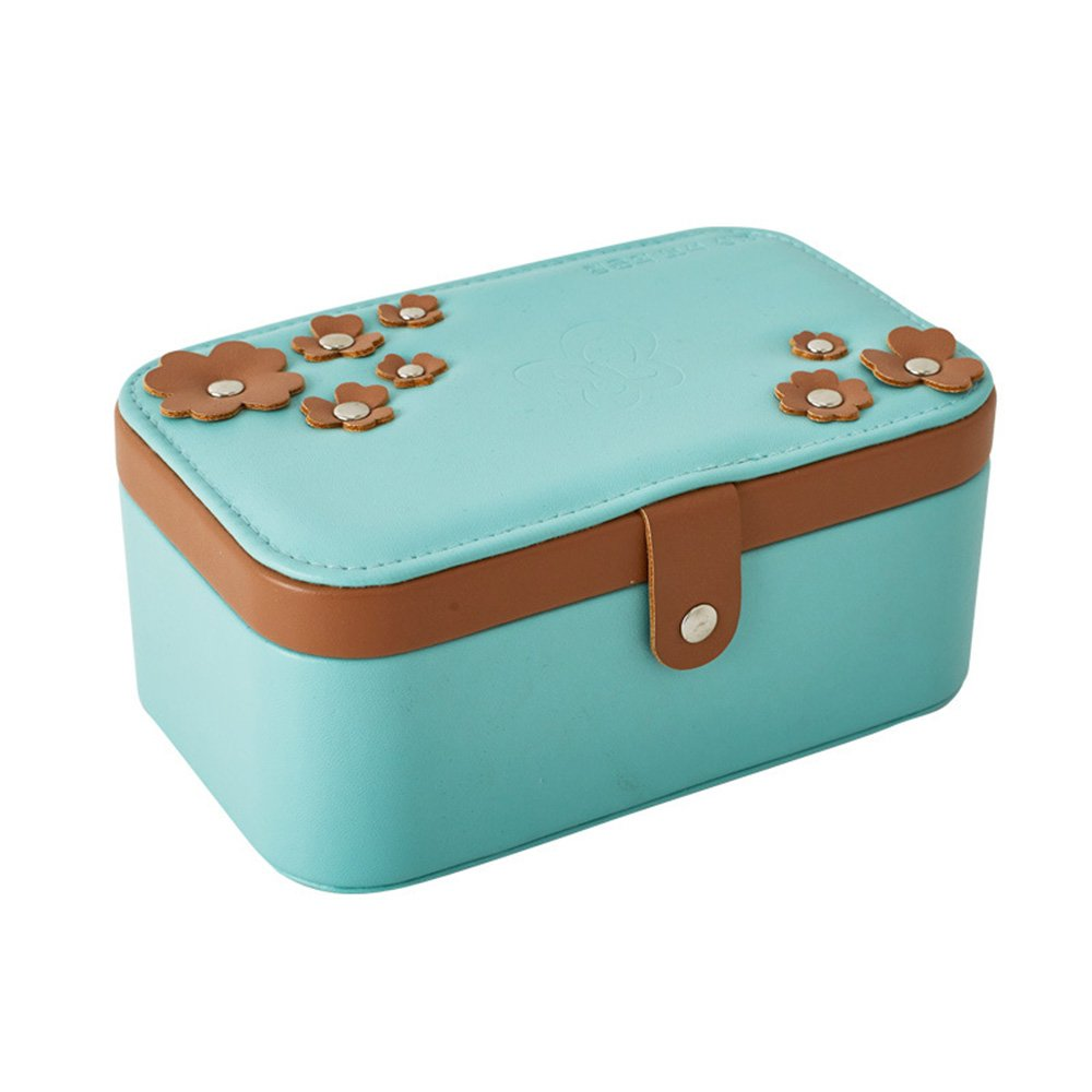 KUKI SHOP Synthetic Leather 2-Layer Mini Portable Travel Jewelry Display Storage Organizer Box Case for Necklace Earrings Bracelets Hairpieces Rings Brooches (Green)