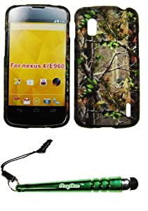 FoxyCase(TM) FREE stylus AND For LG Nexus 4 E960 (T-Mobile) Rubberized 2D Design Green Tree Hunter Camo Case Cover Protector
