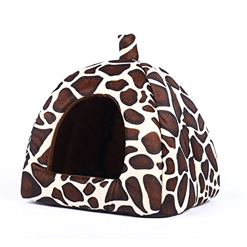(Echo Paths Strawberry Soft Tent Bed Cute Sponge Puppy Cat Cave Dog House for Pets Leopard XS (10.210.20.8 inch))
