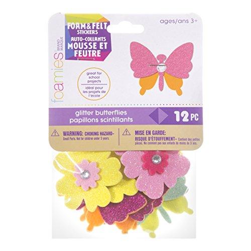 Darice 30023949 Foamies Glitter Butterfly and Flower 12 Piece Stickers ()
