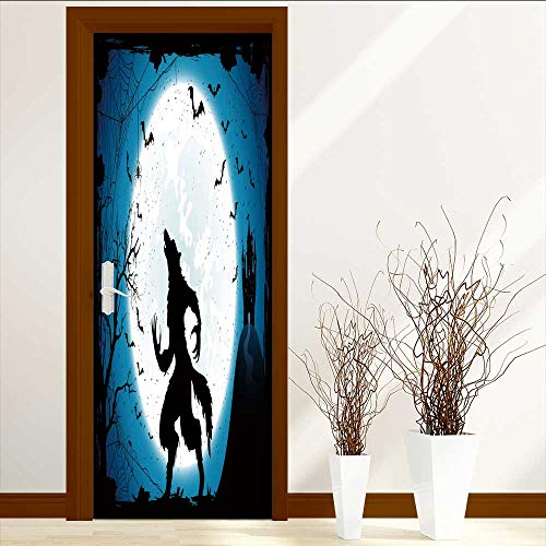 (TextileLIHome Static Cling Glass Film Dark Halloween with Moon on Blue Sky Castle and Werewolf Spiders and Flying Bats Privacy Window Film Decorative Window Film W23.6 x)