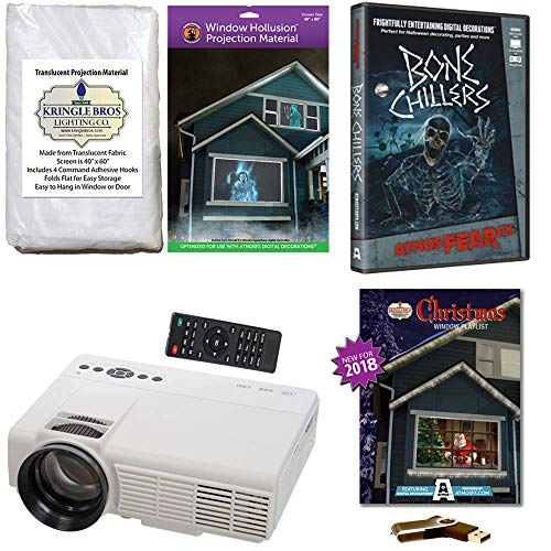 - AtmosFearFx Christmas and Halloween Digital Decoration Kit Includes 1200 Lumen Projector, Hollusion (W) + Kringle Bros Rear Projection Screens, Christmas Compilation (USB) & Bone Chillers (DVD)