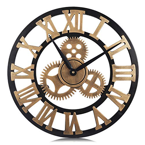 PUMERIT Vintage Gear Wall Clock 3D Retro Non-Ticking Wood Clock Rustic Style for Living Room Hotel Restaurant Decoration 15.7 Inch (Visible Clock Gears With)
