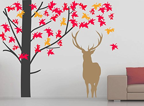 43SabrinaGill Vinyl Wall Sticker Autumn,Fall Wall Decal Deer Decal Leaves Decal Tree Decal Vinyl Decal For Room Decor (Jeremiah Leaf Autumn)