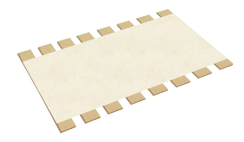 The Furniture Cove Twin Size Bed Slats Boards Wood Foundation White Canvas Fabric-Help Support Your Box Spring Mattress-Made in the U.S.A.! (41'' Wide) by The Furniture Cove