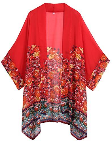 Kimono Top Floral (WEIYAN Women's Summer Tops Loose Chiffon Kimono Cardigan Beach Swim Cover up Blouse (Red1, L))