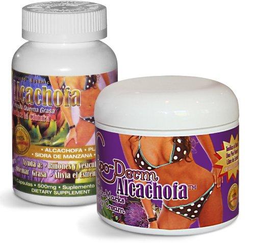 Alcachofa Сжигание жира Артишок пищевая добавка (75 Кол-во) и Липо-Derm Артишок Stretch-Mark терапия крем (4 унции) COMBO