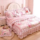 FADFAY,Romantic Flower Print Bedding Set,Floral Bed Set,Princess Lace Ruffle Duvet Cover King Queen Twin,4Pcs (QUEEN)