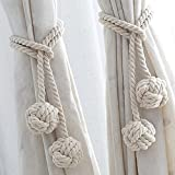 YIDIE 4 Pieces Cotton Rope Holdbacks Hand Knitting Window Curtain Tiebacks for Blackout Curtains, Beige