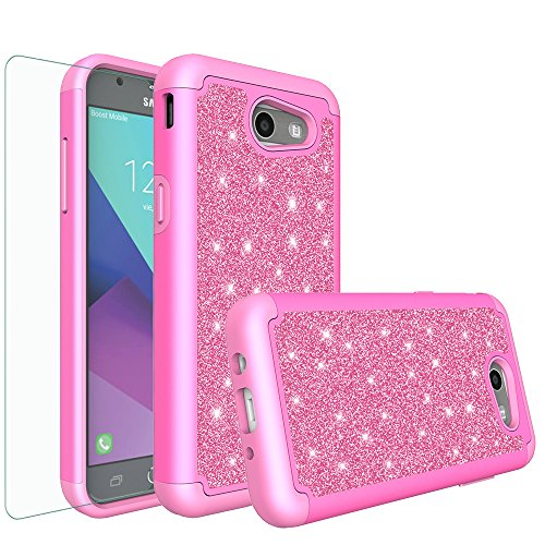 GALAXY WIRELESS for Galaxy J3 Mission/J3 Luna Pro/J3 Prime/J3 Eclipse/J3 Emerge/Express Prime 2/Amp Prime 2/Sol 2 Glitter Case with HD Screen Protector,Protective Case for Samsung J3 2017, Hot Pink