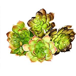 Viper Seed 4 Pcs Artificial Succulents Assorted Colors Size Textured Aloe Unpotted Bulk Arrangement Large and Small Flocked Green Centerpiece for Home Decor Indoor Hanging Decorative Set Realistic 17