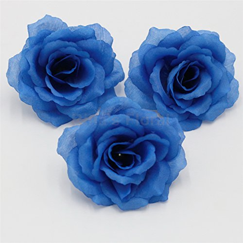 Silk Flowers Wholesale 100 Artificial Silk Rose Heads Bulk Flowers 10cm For Flower Wall Kissing Balls Wedding Supplies (Dark Blue) - Dark Blue Rose