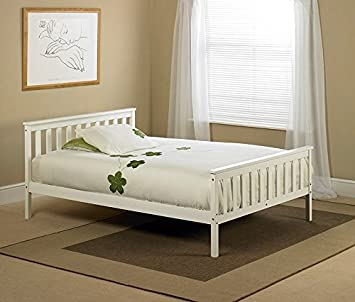 White Wooden Double Bed Frame Amazon Co Uk Kitchen Home