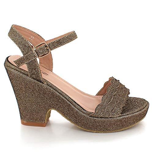 Boda Plataforma Zapatos Marrón Sandalias Cuña Abierta De Tamaño Casual Mujer Paseo Punta Tacón Partido Señoras Noche wPwZxO7Xq