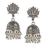Efulgenz Indian Vintage Retro Ethnic Gypsy Oxidized Silver Tone Boho Jhumka Jhumki Dangle Earrings with Stud for Girls and Women Love Gift