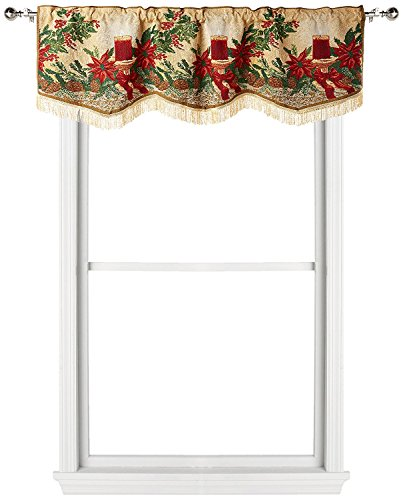 Violet Linen Decorative Christmas Poinsettia Candles Design Tapestry Window Valance, 60