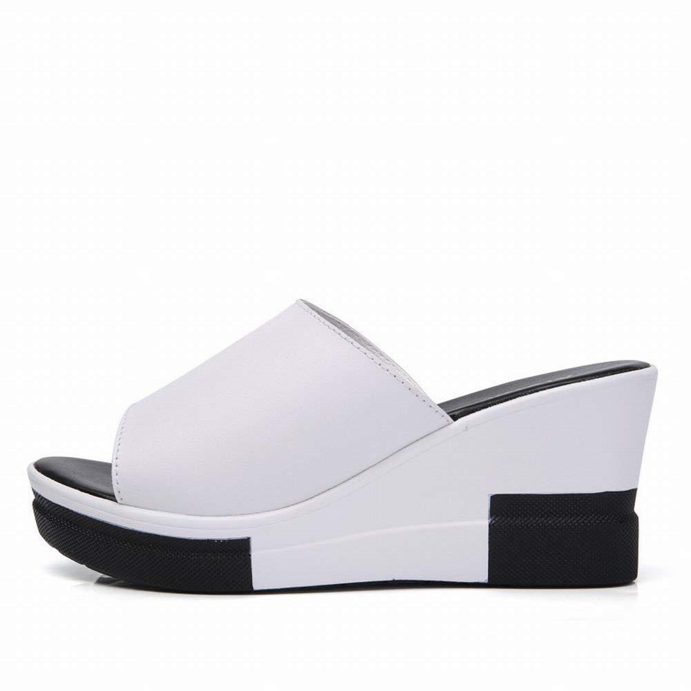 Oudan Weibliche Sandalen Mode Sandalen Weiblichen Leder Hochhackigen Weiblichen Sandalen (Farbe   Weiß Größe   37)
