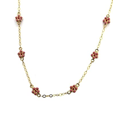 Amazon 18kt Yellow Gold Pink Flower Necklace Chain Necklaces