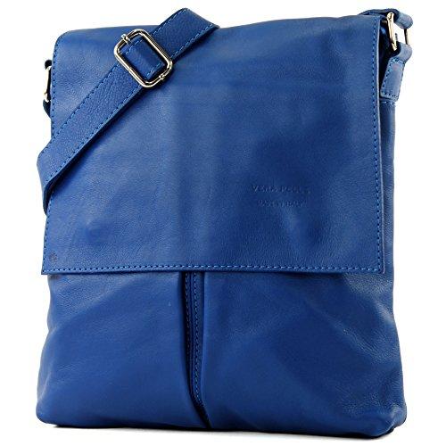 modamoda de Ital. mensajero del hombro del bolso de las señoras bolso de cuero grande T75 Blau2