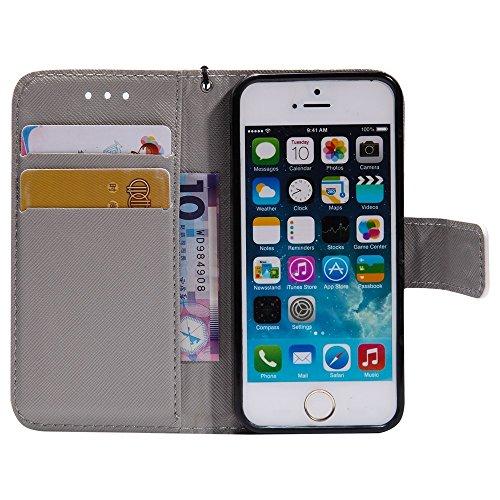 SRY-Mobile Phone Cases & Covers 3D brillo pintado caja de cuero de la PU cubierta del folio de la cubierta del soporte de la carpeta para iPhone SE / 5S / 5 ( PATTERN : 2 ) 2