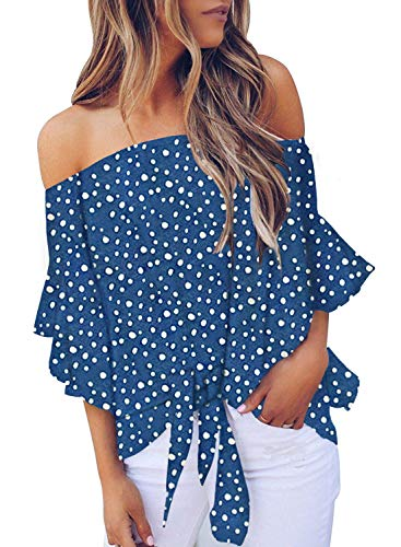 CILKOO Women's Off The Shoulder Flare Sleeve Polka Dot Office Loose Ladies Shirt Blouses Tops Plus Size Blue US16-18 X-Large