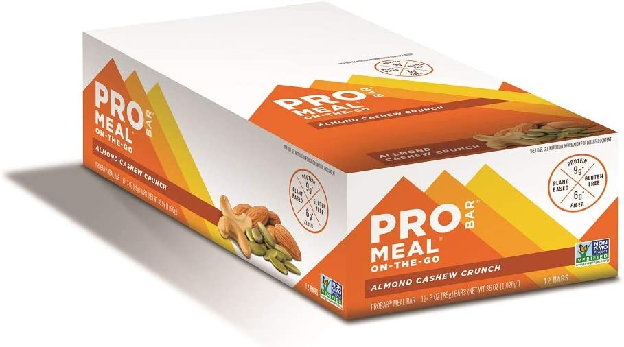 PROBAR - Meal Bar, Almond Cashew Crunch, Non-GMO, Gluten-Free, Certified Organic, Healthy, Plant-Based Whole Food Ingredients, Natural Energy (12 Count) Packaging May Vary