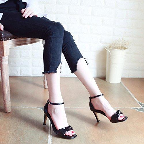 YMFIE Fiesta de Boda Zapatos de tacón de Bola Hueca de Verano Damas Sexy y Mariposas. black