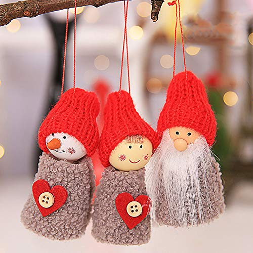 (WestLakeWater New Santa Claus Christmas Hanging Ornaments Pine Cone Xmas Doll Gift 3Pcs/Sets Tree Pendant Christmas Decorations for Home Olive)