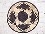 16'' X-Large African Basket- Kibigori / Rwanda Basket / Woven Bowl / Sisal & Sweetgrass Basket / Black, Light Tan