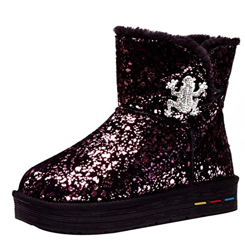 HooH Women's Leather Frog Shiny Warm Snow Boots Red p0pQc4T4q