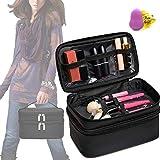 Fashion Simple Travel Cosmetic Bag for Women Make Up Brush Organizer Waterproof 2 Layer Makeup Bag Storage Toiletry(Bonus Makeup Sponges)