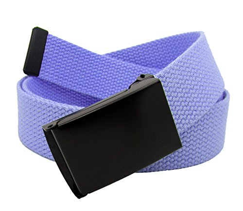 Boy's School Uniform Black Flip Top Military Belt Buckle with Canvas Web Belt Small Pastel Purple
