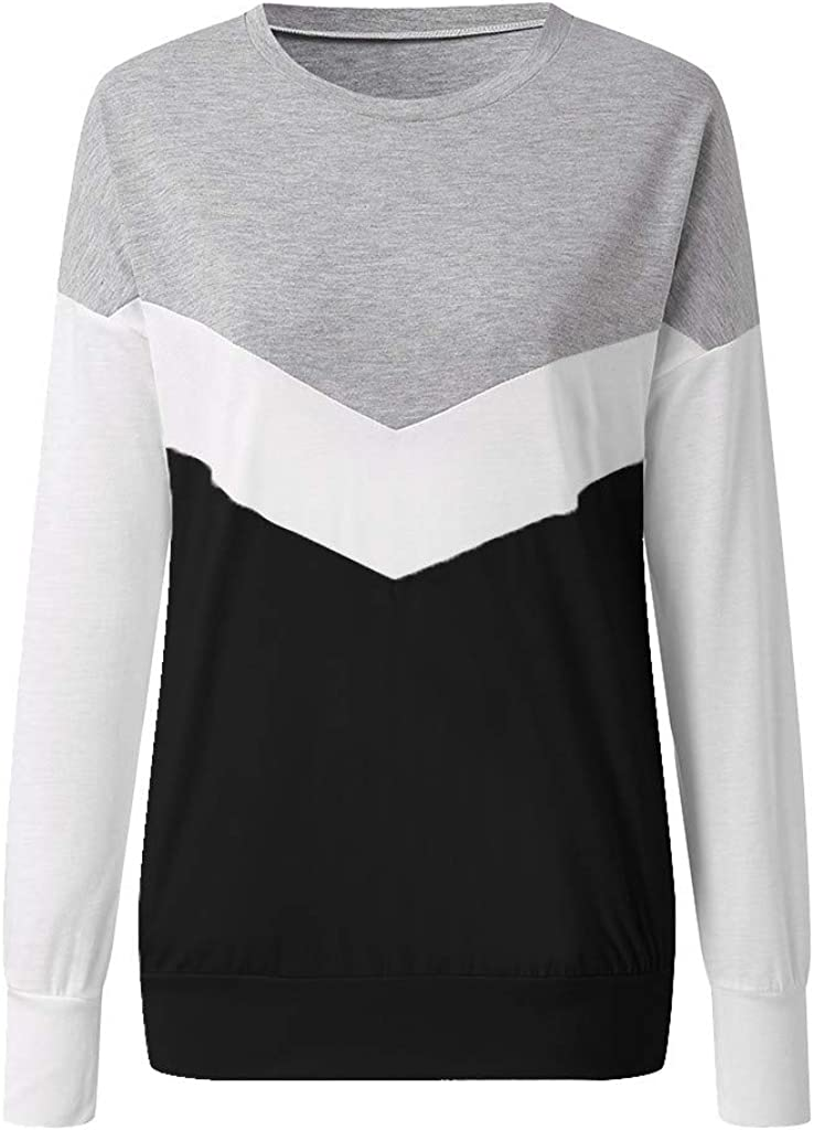 Womens Long Sleeve T Shirts Hessimy Womens Casual Color Block Long Sleeve Round Neck Pocket T Shirts Blouses Sweatshirts Tops