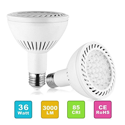 PAR30 Spotlight Light LED Bulbs Long Neck E26 E27 Base 35W 3500LM 25°Beam Angle Daylight White LED Flood Light Bulbs 350W Halogen Equivalent for Living Room (Pack of 2)