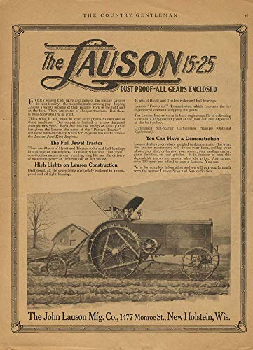 The Lauson 15-25 Tractor - dust prooff - all gears enclosed ad - Enclosed Gear