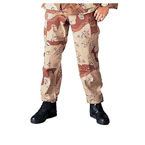 Camouflage Military BDU Pants, Army Cargo Fatigues (Desert Six Color Camouflage, Size X-Large)