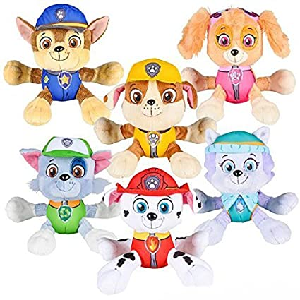 PAW Patrol 6u0026quot; Plush Toy SET Of 6 Characters Marshall Skye Everest  Rocky Rubble Chase