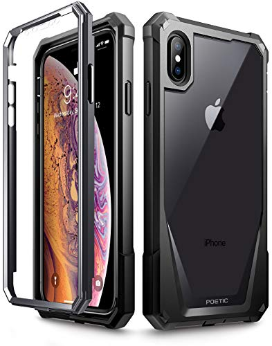 """iPhone Xs Max Case, Poetic Guardian [Scratch Resistant Back] Full-Body Rugged Clear Hybrid Bumper Case with Built-in-Screen Protector for Apple iPhone Xs Max 6.5"""" OLED Display - Black"""