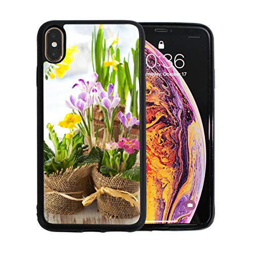 (Spring Yellow Flower Narcissus with Garden iPhone Xs Max Case Screen Protector TPU Hard Cover with Thin Shockproof Bumper Protective Case for Apple iPhone Xs Max 6.5 Inch)